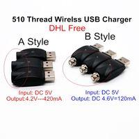 DHL Ücretsiz Kalite Kablosuz USB Şarj Elektronik Sigara USB Vape Şarj Adaptörü için eGo 510 Konu Tomurcuk Dokunmatik CE3 Pil Vape Kalem eCigs