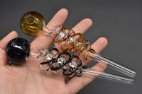 새로운 디자인 다채로운 두꺼운 유리 오일 버너 파이프 이중 헬릭스 유리 오일 튜브 파이프 유리 석유 장비 파이프 담배 무료 배송