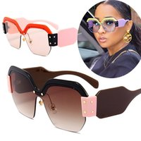 Sexy Luxury Brand Sun Glasses Women Rimless Oversized Sungla...