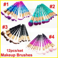 Rainbow Diamond Makeup Brushes 12 pcs Set Brush Gradient Col...