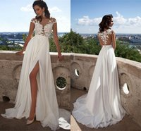 Sexy Beach Wedding Dresses Bohemian Beach Sheer Neck High Si...