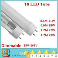 85-265V Dimmable 4ft 1200mm T8 Led Tube Haute Haute Lumineuse 22W 28W Chaud Blanc Froid Led Ampoules Fluorescentes AC110-240V