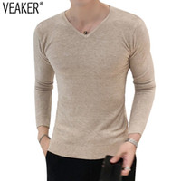 2018 Autumn New Men' s Sexy V- Neck Sweaters Pullover Mal...