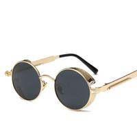 مصمم النظارات الشمسية للرجال جولة نظارات المرأة العلامة التجارية مصمم الإطار المعدني steampunk خمر النظارات الرجال النظارات الإناث