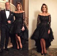 Сексуальные черные кружевные аппликации A-Line вечерние платья с плеч с длинными рукавами с бисером Высокие низкие официальные платья Мать матерью невесты