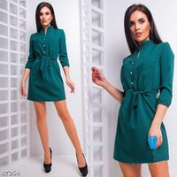 2018 Summer New Fashion Straight Loose Dress Women Casual V-...