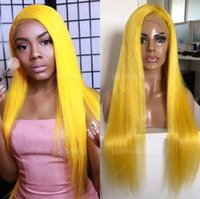 Yellow Full Lace Wigs Silky Straight Brazilian Virgin Remy H...