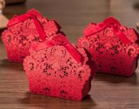 2018 Yeni 50 adet Lazer Kesim Düğün Iyilik Çin Karakteristik Şeker Kutusu Düğün Şekeri Kırmızı Çiçek Desen Hediye Kutusu Düğün Dekorasyon