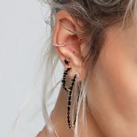 Baguette CZ Hoop 3 Kleuren Zilver Rose Zwart Goud Luxe Dames Dames Sieraden CZ Diamond Earring Topkwaliteit