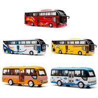 Modelo de autobús escolar fundido a troquel, juguete de metal de 24 cm, marca de fábrica de automóviles para niños con caja de regalo / puertas que se pueden abrir / música / luz / función de extracción