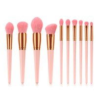 10 Pcs White Pink Makeup Brushes Set Professional Foundation...