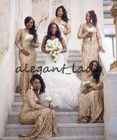 Robes de demoiselle d'honneur à manches longues de Champagne 2018 Plus Taille Taille Col V-Col Sirène Full Longueur Nigériane Maid d'honneur Honor Mariage Robe d'invité