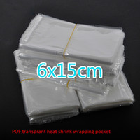 300pcs / lot 6x15cm 투명한 수축 포장 포장 열 씰백 POF 선물 포장 병 comestic 병 상자