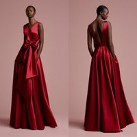 Aso Ebi Rose Red Lange Abendkleider Taschen Nigerian Sexy Backless Abendkleider 2018 Bow Deep V-Ausschnitt African Formal Dress Gonna