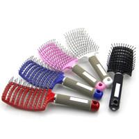 Cepillo de pelo profesional antiestática curvada Fila pelo peinado del peine de masaje del cuero cabelludo cepillo para el pelo peluquero peluquería que labra nuevas herramientas populares