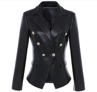 Yeni Stil En Kaliteli Orijinal Tasarım kadın Ince Klasik Deri Blazer Ceket Metal Tokaları Kruvaze Siyah Motosiklet Ceket Kaban
