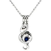 Misterio de plata Cobra Serpiente Difusor de Aceite Esencial Medallón Aromaterapia Perlas Perla Oyster Jaula Collar Colgante-Boutique regalo