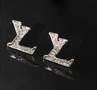 Wholesale Brand Letters llv Earrings Clear Crystal Rhineston...