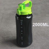 1L / 2L 2000ml Negro blanco de gran tamaño Botella de agua portátil Space Herbalife Nutrition Shaker correa de paja estilo botella de agua