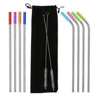11pcs set Stainless Steel Straws with Colorful Silicone Case...