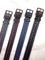Mens trançado preto de couro cinto de tecido de cintos Weave Vintage Cintos de negócios novo com caixa