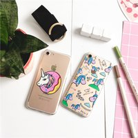 Cute Cartoon unicorn TPU Painting cell phone Case For iPhone...