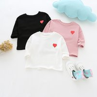 girl kids clothing long sleeved T shirt solid color love hea...