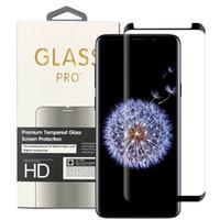 Para Samsung Galaxy Note 9 S9 S8 3D Caja de cristal de vidrio de cristal templado de cristal, amigable para la nota 8 S7 Edge con venta al por menor