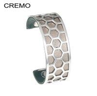 Кремо Honeycomb из нержавеющей стали Браслеты Браслеты Манжеты персонализированный Реверсивный 25мм Кожаный ремешок браслет Pulseira-Feminina