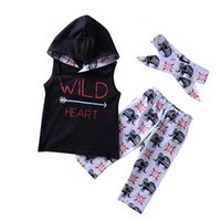 2018 INS Girls clothing Sets Wild Heart Outfits Sleeveless H...