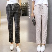2019 summer women' s spring pants elastic waist plaid ca...