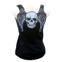 Оптовые летние новые очки стиль женские 3D черепа крылья печать жилет Тонкий утечки обратно рубашку