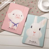 Lovely Rabbit Cartoon Cover pour New iPad 9.7 Air / air2 Kickstand Mignon Cochon Motif Cas Stand Shell Anti Goutte / Poussière pour iPad 234 Mini 123