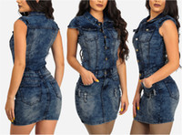 Nuevo 2018 marca de alta calidad estilo casual mujeres denim dress turn-down collar sin mangas bodycon mini vestido