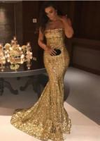 2018 Nueva Sparkling Strapless Bling lentejuelas sirena vestidos de noche Silver Gold Sweep Train fiesta formal Red Carpet Runway Prom Vestidos