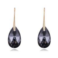 Cristales negros de Swarovski Pendientes de gota para las mujeres Retro Colgante de color oro de la vendimia que cuelga los regalos de Navidad al por mayor