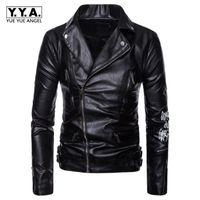 Erkekler Artı Boyutu Için Ropa De Hombre PU Deri Ceketler Siyah Baskı Zip Erkek PU Deri Ceket Erkek Mont Jaqueta Masculin M-5XL