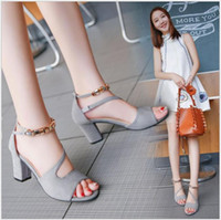 2018 Summer Fashion New Solid Color Ms. Sandals High-heeled European and American Beaded Thick with Word buckle Female sandals