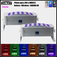 Venta caliente DJ Uplight 12pcs * 18W RGBAW 6 In1 LED alimentado por batería inalámbrico DMX LED lavado luz Wifi control remoto 2pcs / lot
