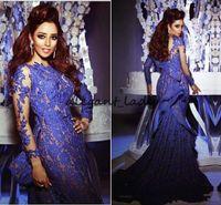 Vestidos 2018 Royal Blue Mermaid Spitze Abendkleider mit schiere langen Ärmeln Rüschen lange Prom Kleider Myriam Fares Celebrity Kleider