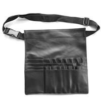 Funda de cuero negro de la PU Cepillo de maquillaje cosmético profesional Apron Bag Artist Belt Strap Holder Make up Case