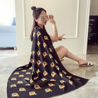2018 Cute cartoon bear print cotton scarf shawl blanket holi...