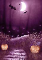 púrpura de Halloween fondos luna noche telón de fondo de murciélago calabaza pisaron fondos de fotografía paño de vinilo personalizar para estudio fotográfico