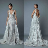 2019 Berta Abiti da sera eleganti con scollo a V staccabile Sirena in pizzo blu Prom Dress Backless Red Carpet Abiti da festa