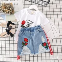 1 set fashion kids roses t- shirt and embroidery ripped jeans...