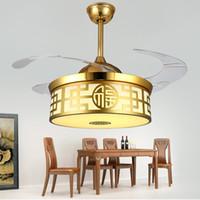 42 pulgadas Invisible Gold Techo Ventilador Luces en el restaurante Restaurante Luz Minimalista Modern Living LED Chandelier Frecuencia inteligente conversio