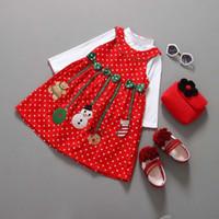 Niños Baby Girl T-shirt Vestido de la blusa Trajes de Navidad Navidad Fashiion Ropa Niños Lindo Conjunto de ropa