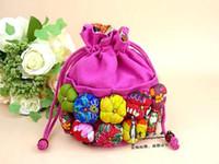 중국어 국립 호박 여러 가지 빛깔의 무작위 믹스 면화 쥬얼리 포장 Drawstring 주머니 메신저 어깨 액세서리 가방 스토리지 박스