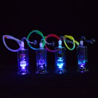 LED Bong Mini Dab Rigs 10mm Glass Bowl Smoking Water Bong Pe...