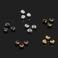Großhandel 3mm 100 teile / los Eisen Crimp Ende Perlen Abdeckung Schmuck Zubehör für DIY Armband Halskette